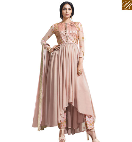 STYLISH BAZAAR INVITING PEACH GEORGETTE EMBROIDERED ANARKALI SALWAR SUIT SLSKR8014