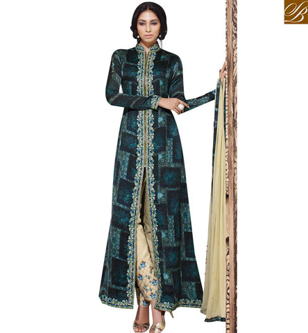 STYLISH BAZAAR AMAZING GREEN GEORGETTE DIGITAL PRINT JACKET STYLE SUIT SLSKR8015