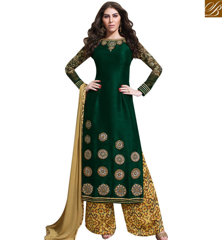 STYLISH BAZAAR DAZZLING GREEN RAW SILK EMBROIDERED STRAIGHT CUT SUIT WITH DIGITAL PRINT PLAZZO SLSKR8018