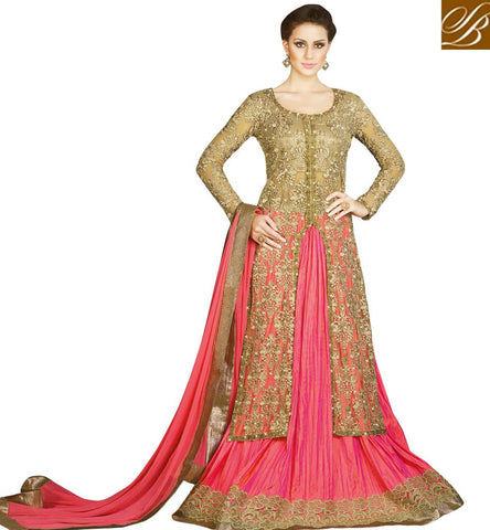 STYLISH BAZAAR BUY LATEST HEAVY DESIGNER BEIGE AND PINK LEHENGA KAMEEZ FOR WOMEN ONLINE LATEST BRIDAL OUTFITS SLSWT4901