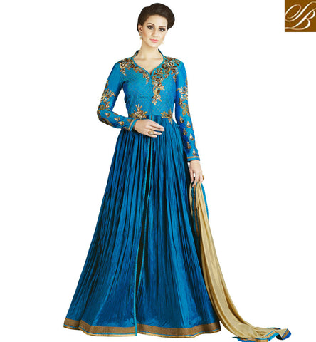 STYLISH BAZAAR SHOP ONLINE MODERN INDO-WESTERN BLUE GOWN FOR LADIES TRENDY STYLISH BAZAAR PARTY OUTFITS SLSWT4902