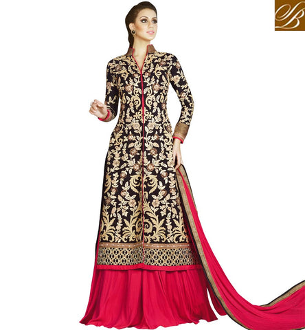 STYLISH BAZAAR SHOP DARK PINK LEHENGA OR SALWAAR WITH BLACK LONG EMBROIDERED KAMEEZ FOR LADIES ONLINE COLLECTION SLSWT4904 LHENGHA WEDDING WEAR