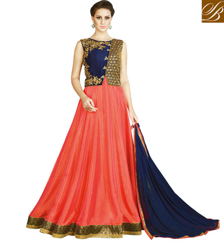 STYLISH BAZAAR BUY NOW NAVY BLUE JACKET STYLE DRESS DARK PEACH LEHENGA LATEST WEDDING WEAR DRESS ONLINE SLSWT4905