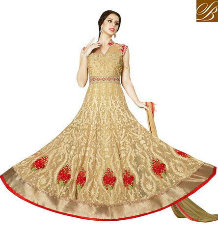 STYLISH BAZAAR AMAZING BEIGE ETHENIC GOWN FOR MATRIMONIAL AND FESTIVAL PARTY FUNCTIONS IN INDIA AND OVERSEAS SLSWT4908