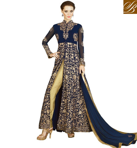 STYLISH BAZAAR SHOP ONLINE FOR NAVY BLUE MID-SLIT KAMEEZ WITH PANT STYLE SALWAAR WEDDING OUTFITS FOR WOMEN SLSWT4909