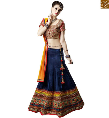 STYLISH BAZAAR SHOP ONLINE NAVY BLUE ART SILK EMBROIDERED LEHENGA CHOLI WITH PATCH LACE BORDER SLSWT9303