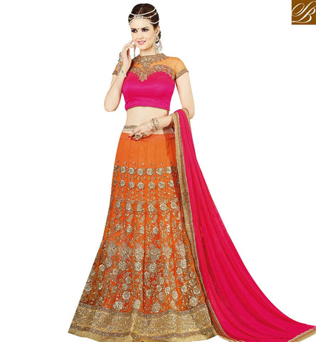 STYLISH BAZAAR MODERNISTIC ORANGE NET AND SILK EMBROIDERED WEDDING WEAR LEHENGA CHOLI SLSWT9401