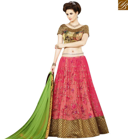STYLISH BAZAAR ATTRACTIVE PINK NET HAVING FLOWER PRINT LEHENGA CHOLI WITH PRINTED SILK CHOLI SLSWT9407