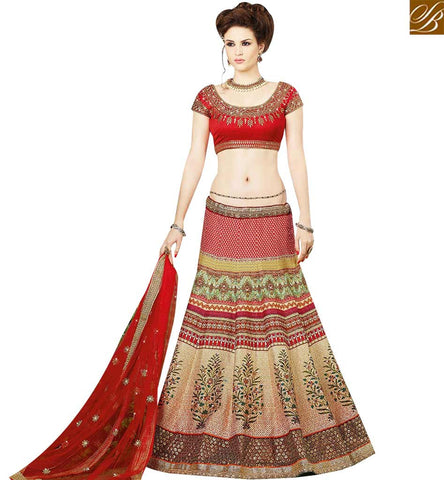 STYLISH BAZAAR PLEASING MULTICOLOUR SILK HAVING DIGITAL PRINT WORK DESIGNER LEHENGA CHOLI SLSWT9409