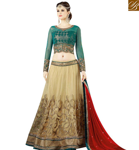 STYLISH BAZAAR DELIGHTFUL CREAM AND GREEN NET DESIGNER LEHENGA CHOLI WITH RED CHIFFON DUPATTA SLSWT9411