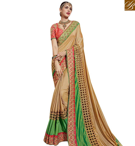 STYLISH BAZAAR BEAUTIFUL BEIGE & GREEN NET SATIN AND GEORGETTE PARTY WEAR DESIGNER SAREE SLTHS701