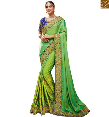 STYLISH BAZAAR EYE CATCHING GREEN SATIN GEORGETTE PARTY WEAR EMBROIDERED SAREE WITH LACE BORDER SLTHS703
