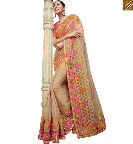 STYLISH BAZAAR DELIGHTFUL BEIGE NET SATIN AND GEORGETTE PARTY WEAR EMBROIDERED SAREE SLTHS705