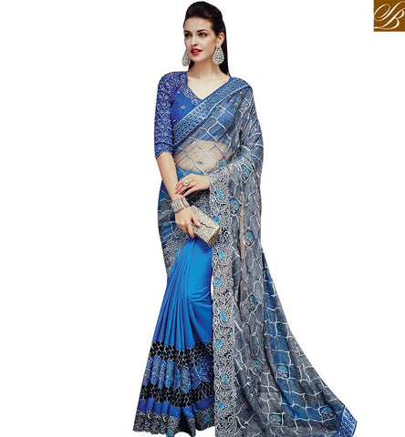 STYLISH BAZAAR ATTRACTIVE BLUE NET GEORGETTE AND SATIN WELL DESIGNED PARTY WEAR SAREE WITH MATCHING BLOUSE SLTHS707