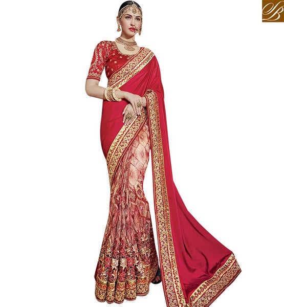 STYLISH BAZAAR INVITING MAROON NET GEORGETTE AND SATIN WEDDING WEAR LOVELY DESIGNED SAREE SLTHS709