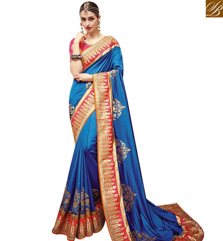 STYLISH BAZAAR MARVELLOUS BLUE SATIN GEORGETTE DESIGNER SAREE WITH BEAUTIFUL RED BORDER WORK SLTHS711