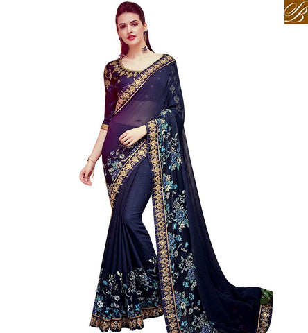STYLISH BAZAAR GLORIOUS NAVY BLUE SATIN GEORGETTE PARTY WEAR DESIGNER SAREE WITH DIAMOND WORK SLTHS713