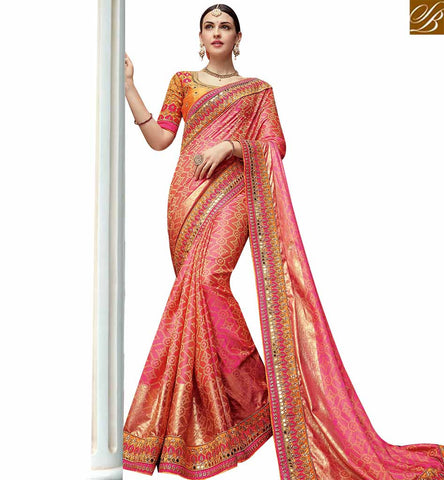 STYLISH BAZAAR SPLENDID PINK SATIN GEORGETTE HAVING WELL PRINTED DESIGNER WEDDING WEAR SAREE SLTHS717