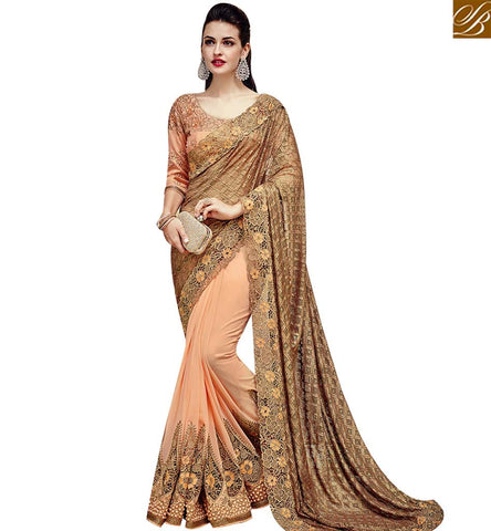 STYLISH BAZAAR BUY PEACH AND BEIGE NET GEORGETTE PARTY WEAR EMBROIDERED SAREE WITH DIAMOND WORK SLTHS719