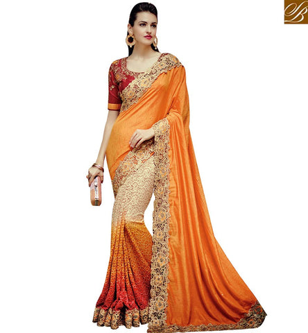 STYLISH BAZAAR WEAR ROYAL ORANGE AND CREAM NET GEORGETTE PARTY WEAR SAREE WITH LACE BORDER WORK SLTHS720