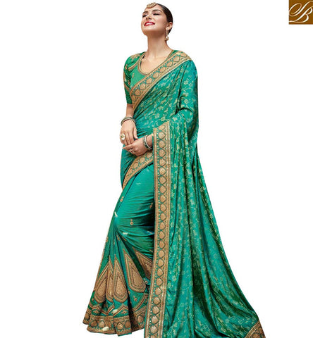 STYLISH BAZAAR ENTICING GREEN SATIN GEORGETTE DESIGNER SAREE HAVING PATCH WORK WITH MOTI LACE BORDER SLTHS721