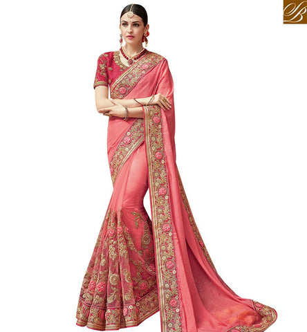 STYLISH BAZAAR PLEASING PEACH NET GEORGETTE AND SATIN DESIGNER SAREE CONTAIN ROSE WITH DIAMOND WORK SLTHS723