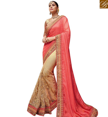 STYLISH BAZAAR STUNNING CREAM AND PEACH NET GEORGETTE PARTY WEAR SAREE HAVING GLASS WITH LACE BORDER WORK SLTHS724