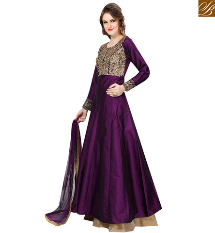 STYLISH BAZAAR STUNNING PURPLE TAFETA SILK DESIGNER ANARKALI SALWAR KAMEEZ WITH EMBROIDERY SLTWI16001