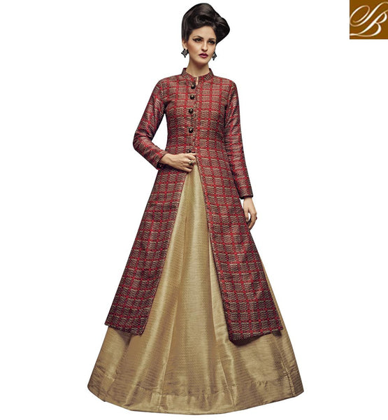 STYLISH BAZAAR AMAZING MAROON AND GOLD JUTE SILK PARTY WEAR LEHENGA CHOLI WITH SLIT CUT SLVAN52106