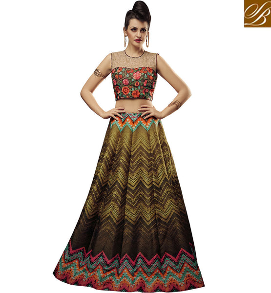STYLISH BAZAAR APPRECIATING MULTICOLOUR JUTE SILK DESIGNER CROP TOP LEHENGA CHOLI WITH PLEASANT GLANCE SLVAN52107