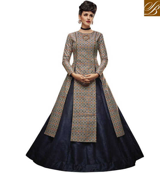 STYLISH BAZAAR WEAR BEIGE AND BLUE SILK DESIGNER LEHENGA CHOLI WITH ATTRACTIVE SLIT CUT STYLE SLVAN52108