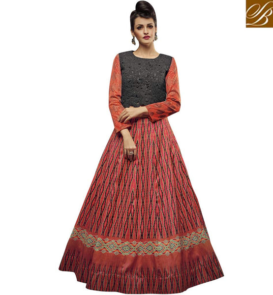 STYLISH BAZAAR DELIGHTFUL BLACK AND RED JUTE SILK DESIGNER PARTY WEAR CROP TOP LEHENGA CHOLI SLVAN52109