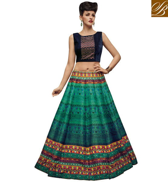 STYLISH BAZAAR PLEASING GREEN AND BLUE SILK DESIGNER PRINTED CROP TOP LEHENGA CHOLI WITH LOVELY STYLE SLVAN52110