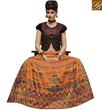 STYLISH BAZAAR INTRODUCES DAZZLING ORANGE AND BROWN SILK PARTY WEAR CROP TOP PRINTED LEHENGA CHOLI WITH JACKET STYLE SLVAN52111