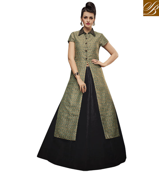 STYLISH BAZAAR SPLENDID BEIGE AND BLACK SILK DESIGNER LEHENGA CHOLI WITH SLIT CUT STYLE SLVAN52112