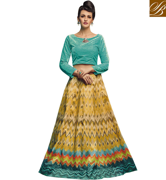 STYLISH BAZAAR ENTICING SEA BLUE GEORGETTE AND YELLOW SILK DESIGNER CROP TOP LEHENGA CHOLI SLVAN52114