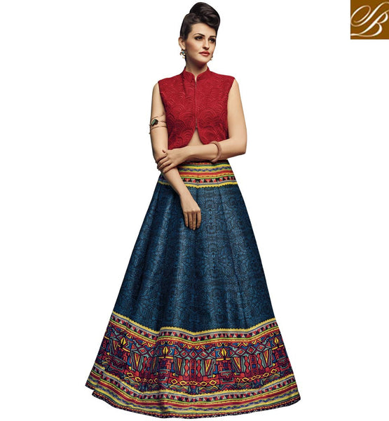 STYLISH BAZAAR STUNNING RED NET AND BLUE SILK DESIGNER CROP TOP LEHENGA CHOLI HAVING PLEASANT GLANCE SLVAN52115