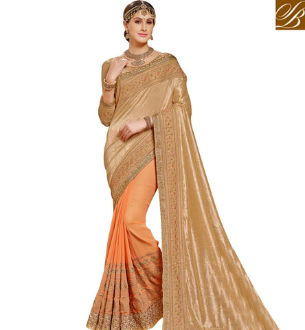 STYLISH BAZAAR BEAUTIFUL LATEST SAREE ONLINE IN CREAM COLOR WITH TWO BLOUSE PATTERN OPTIONS SNP19001