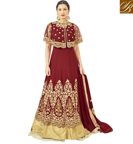 STYLISH BAZAAR Shp red georgette Gauhar Khan indo western marriage dress for women SJW33062