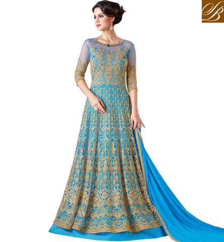 STYLISH BAZAAR Buy light blue fully embroidered anarkali princess snowwhite Eid dress SWG5102