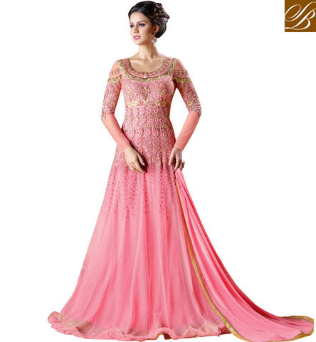 STYLISH BAZAAR Shop baby pink indowestern gown for ladies parties and wedding dress SWG5103