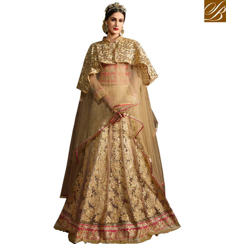 STYLISH BAZAAR BEAUTIFUL BEIGE NET DESIGNER PARTY WEAR GOWN STYLE SALWAR SUIT SETS SYB71