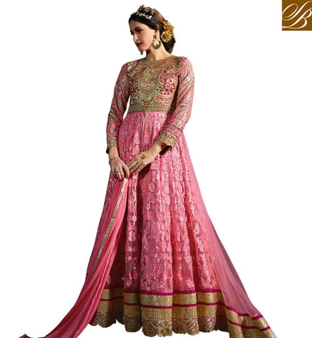 STYLISH BAZAAR ATTRACTIVE PINK BANGLORI SILK & NET EMBROIDERED PARTY WEAR ANARKALI SUIT ONLINE SHOPPING SYB72