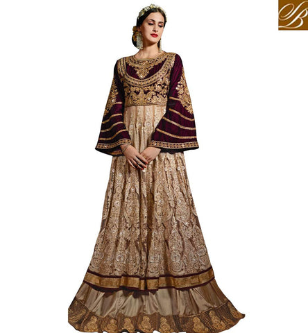 STYLISH BAZAAR ELEGANT BEIGE NET AND WINE VELVET EMBROIDERED PARTY WEAR GOWN STYLE DRESS INDIA SALWAR SYB73