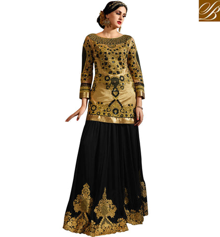 BROUGHT TO YOU BY STYLISH BAZAAR BEIGE NET AND BLACK GEORGETTE PARTY WEAR SUIT DUAL STYLE ANARKALI SALWAR KAMEEZ SYB74