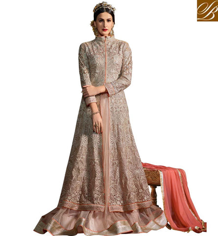 STYLISH BAZAAR WONDERFUL CREAM NET HEAVY EMBROIDERED GOWN DESIGNER ANARKALI SUIT ONLINE INDIA SYB75