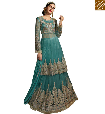 STYLISH BAZAAR INVITING SKY BLUE NET WELL EMBROIDERED INDIAN WOMEN SALWAR KAMEEZ DUAL STYLE SYB76
