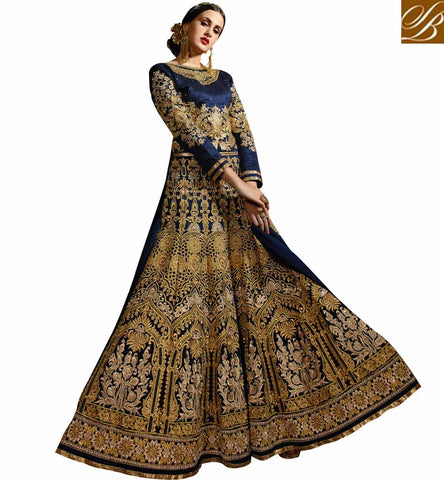 STYLISH BAZAAR PLEASING NAVY BLUE BANARASI SILK HEAVY EMBEDDED GOWN STYLE SALWAR KAMEEZ WOMEN SYB78