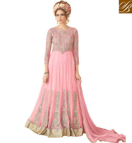 STYLISH BAZAAR Buy Baby pink designer Sybela heavily embroidered gown for women online SYB91