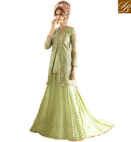 STYLISH BAZAAR Shop green Sybela jacket style designer kameez with palazzo online SYB92
